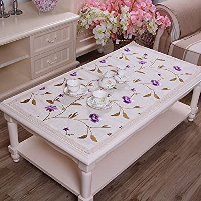yazi Embroidered Cutwork Floral Lace Dining Tablecloth Rectangular Cotton Linen Table Cover