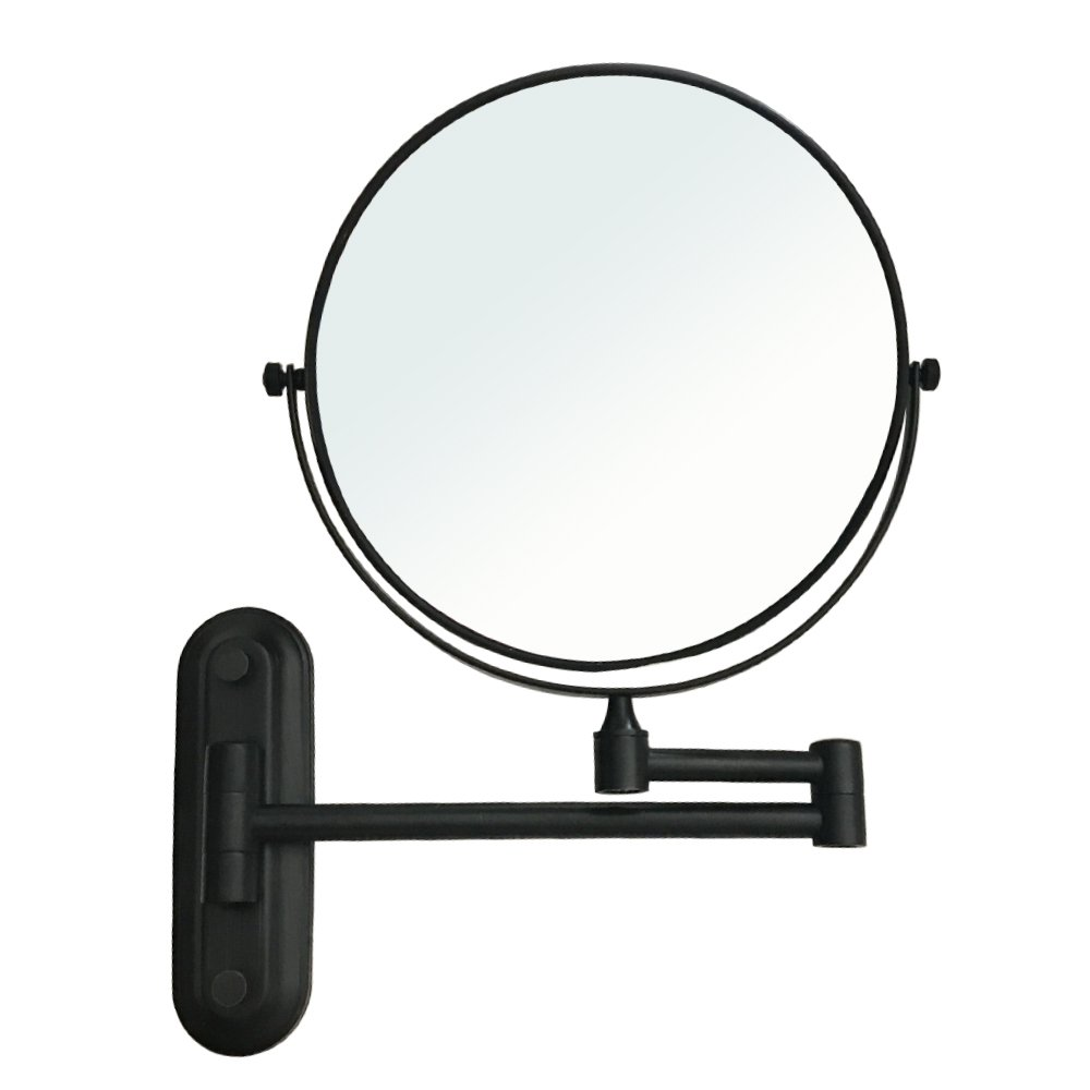 Gecious Wall Mount Vanity Makeup Magnifying Mirror,Black,1x/10x magnification,360°Swivel 12'' Extension Two-Side Retractable Oil Rubbed Finish,8-Inch