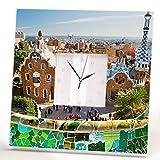 Barcelona Wall Clock Framed Mirror Park Guell Spain Catalonia Travel Fan Printed Art Home Decor Gift