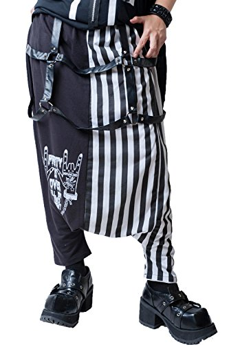 (JPL Japan Street Punk Harajuku Sign of The Horns Striped Slack Harem Pants JAG0003 (White))