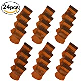 Bar Stool Legs 24pcs Chair Legs Socks, Knitted Furniture Leg Floor Protectors, Non-Slip Chair Feet Covers for Bar Stool, Dinning Chairs or Table, Protect Hardwood Floors from Scratches and Reduce Noise (Coffee)