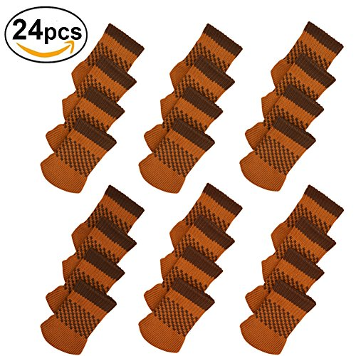 24pcs Chair Legs Socks, Knitted Furniture Leg Floor Protectors, Non-Slip Chair Feet Covers for Bar Stool, Dinning Chairs or Table, Protect Hardwood Floors from Scratches and Reduce Noise (Coffee)