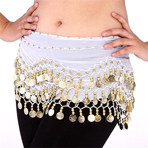 Veroda 3 Rows Chiffon Belly Dancing Hip Scarf Skirt Fringe Coin Belt Wrap Color White