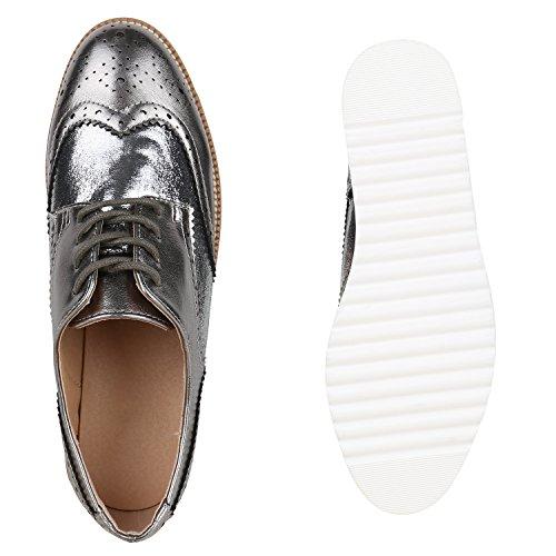 gris de Stiefelparadies Mujer brogues oscuro vestir Zapatos v6vxaX0