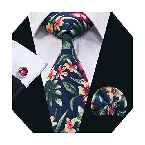 (DiBanGu Floral Tie Pocket Square Men's Cotton Tie Handkerchief Cufflink Set (Navy))