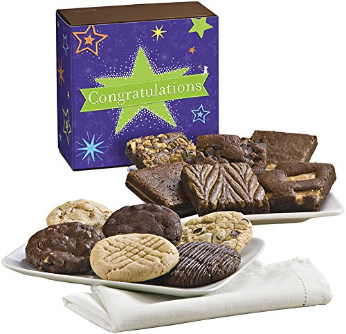Fairytale Brownies Congratulations Cookie & Brownie Combo Gourmet Food Gift Basket Chocolate Box - 3 Inch Square Full-Size Brownies And 3.25 Inch Cookies - 12 - Congratulations Baskets Cookie
