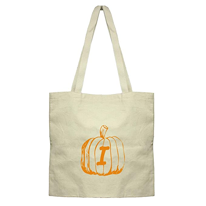 i halloween pumpkin monogram letter i cotton canvas flat market tote bag