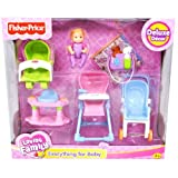 Fisher Price Loving Family Dollhouse Deluxe Decor Furniture Accessory Set - EVERYTHING FOR BABY with Stroller, High Chair, 4-Leg Bouncer, Rocker Seat, Diaper Bag, Blanket and Baby (Dollhouse Sold Separately) by Loving Family