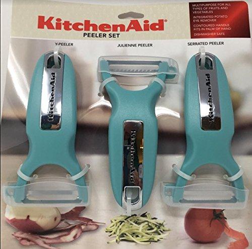 KitchenAid Classic 3-pc Handheld Peeler Set, Y-Peeler, Julienne Peeler, & Serrated Peeler, Aqua Sky