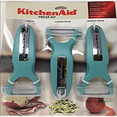 KitchenAid Classic 3-pc Handheld Peeler Set, Y-Peeler, Julienne Peeler, & Serrated Peeler, Aqua Sky
