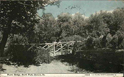 Rustic Bridge, South Park Quincy, Illinois Original Vintage Postcard ()