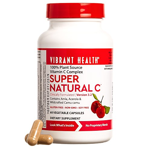 Vibrant Health - Super Natural C, Plant-Based Vitamin C to Support Healthy Immunity and Aging with Amla Fruit, Camu Camu, and Green Tea Extracts, Gluten Free, Vegetarian, Non-GMO, 60 Count (FFP)