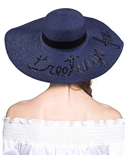 e7ced68f Floppy Foldable Hat for Women Big Wide Brim Straw Hat Sun Hat UPF 50+ Letter
