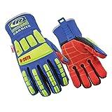 Impact Gloves, L, Hi-Vis Green/Blue, PR