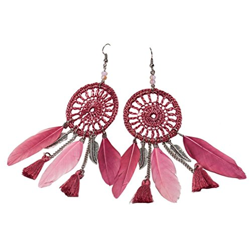 Long Purple Feather Earrings - Amiley Bohemia Feather Beads Long Design Dream Catcher Hook Tassel Earrings Dangle Earings Eardrop for Women Jewelry (Purple)