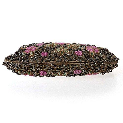 Soirée Sac Perle Vif BMC À Pochette incrusté Rose Petits Main Design Fleur Femmes Bronze FwRwq1gP