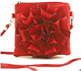Faux Leather Rosette Cross-Body Bag - Pink