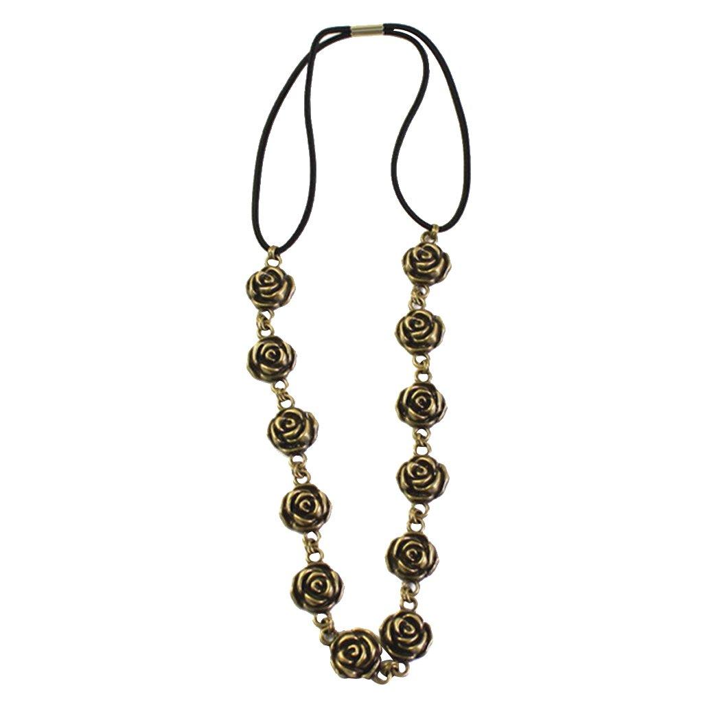 MagiDeal Bohemian Antique Bronze Flower Beads Forehead Chain Headband Gothic Jewelry