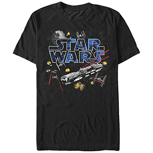 Tie Fighter Flight - Star Wars Men's Flight Of The Falcon Graphic T-Shirt, Black, XL