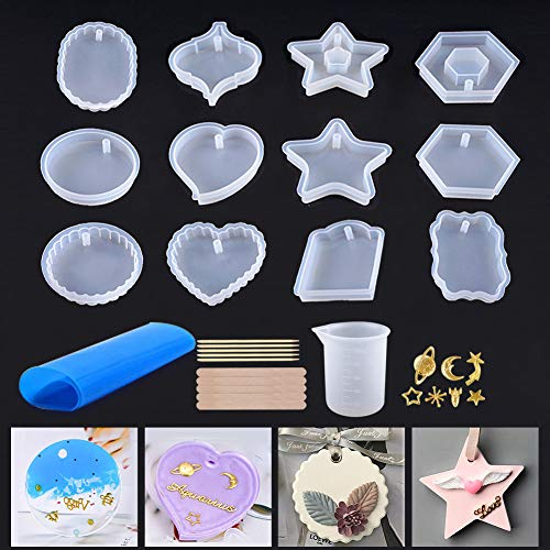 - 12Pcs Resin Silicone Molds, Epoxy Resin Molds with Hole for Jewelry Pendent, Keychain Craft Making with Star Moon Decorations