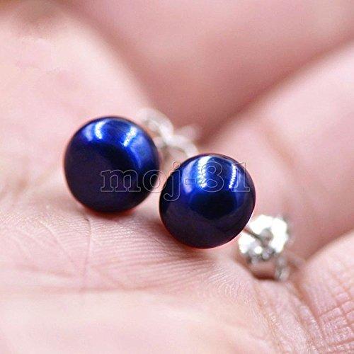 8-9mm Natural Blue Akoya Freshwater Pearl 925 Sterling Silver Stud Earrings
