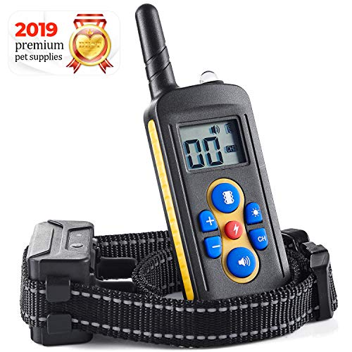 LLarnn Dog Training Collar Vibration Beep Static Mode Electric Collar with 2000ft Remote Behavior Aids for Dogs Pets Waterproof and Rechargeable