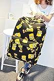 Preppy Style Fasion Canvas Schoolbag Cartoon Simpson Shoulders Bag Women's Backpack (Black)