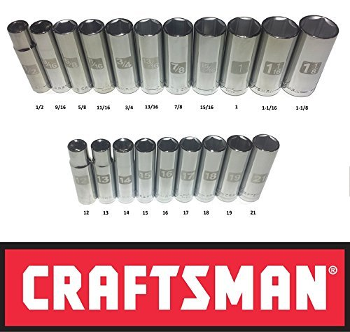 Craftsman Laser Etched Easy Read 20 Piece SAE & Metric 1/2'' Drive 6 Point Deep Well Socket Set by Craftsman