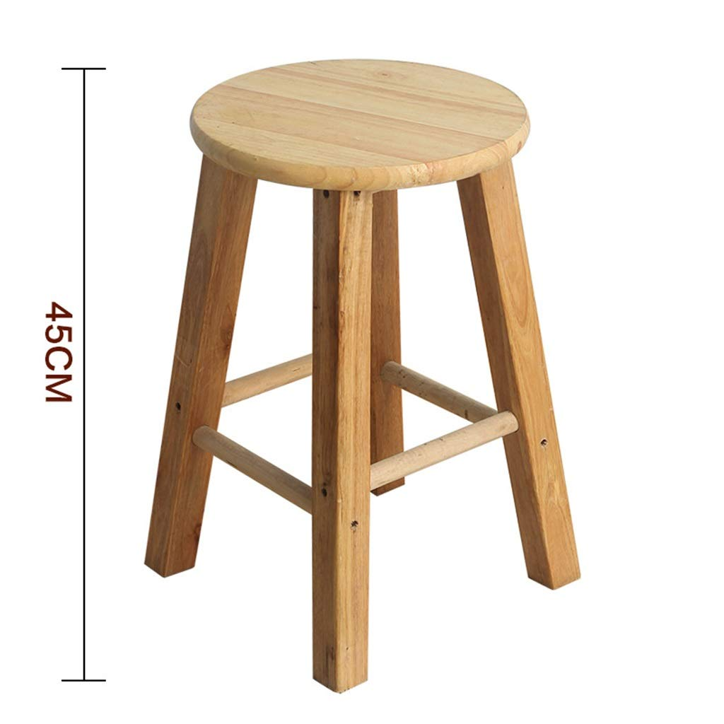 45cm Stool Wooden Bar Stools, Round High Stools, for Counter Café Kitchen Breakfast Pub (Size   50CM)