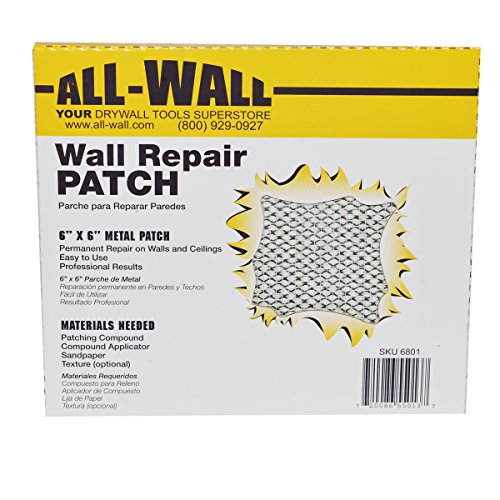 """All-Wall Drywall Repair Patches - Metal Aluminum Stick-On Adhesive Wall Patch (6"""" x 6"""" 10-Pack)"""