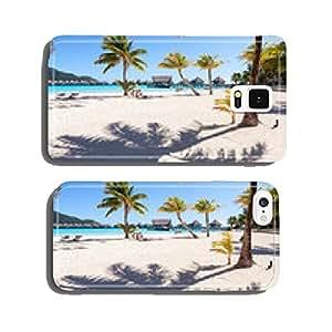 Palms on a white beach in French Polynesia. Bora Bora cell phone cover case Samsung S6