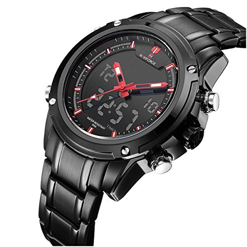 Military Sports Watches Mens Dual-display Multi-function Stainless Steel Mens LED Digital Watches Red