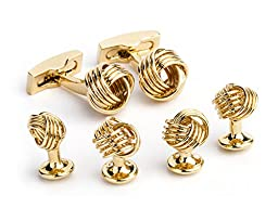 Daniel Dolce Men\'s Knot Cufflink Stud Set, Gold, One Size