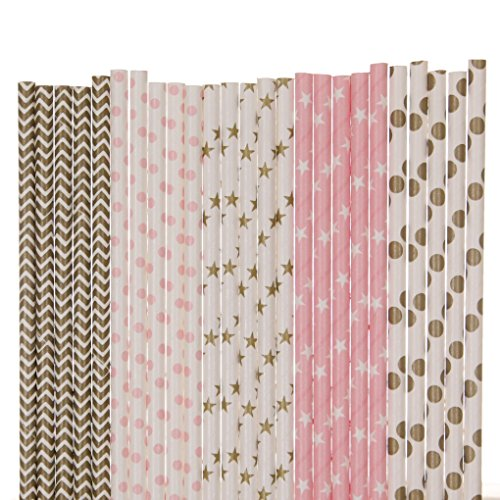 Gold and Pink Paper Straw Mix - Stars, Dots, Chevron (25)