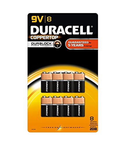 Duracell Coppertop 9v Batteries - Duracell Coppertop Batteries, 9V, 8 Pack