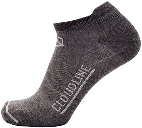 CloudLine Merino Wool No Show Athletic Tab Ankle Running Socks - Ultra Light - Medium Granite - Made in USA (Womens Ultralight Trail Sock)