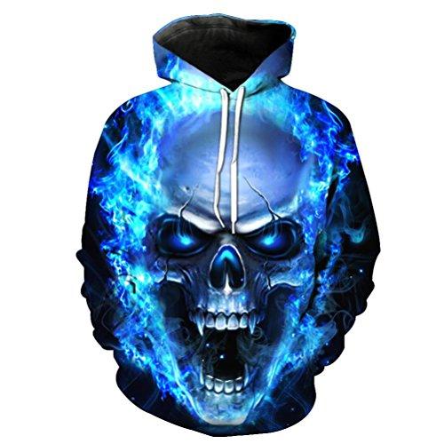 ManxiVoo Hooded Sweatshirt Men and Women Skull Hoodie Unisex 3D Printed Pullover Long Sleeve Tops Blouse (M, Blue)