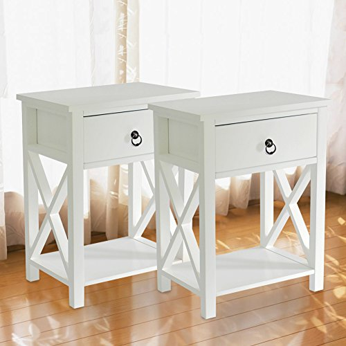 MAGIC UNION Wooden X-Design Side End Table Night Stand Storage Shelf with Bin Drawer Night Stand Sets Of 2 (Nightstands 2 Drawer)