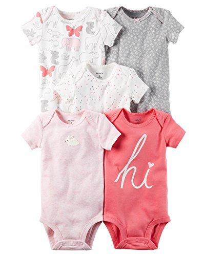 Carter's Baby Girls 5 Pack Bodysuit Set, Pink Animals, 18 Months (Pack 5 Girl Bodysuit)