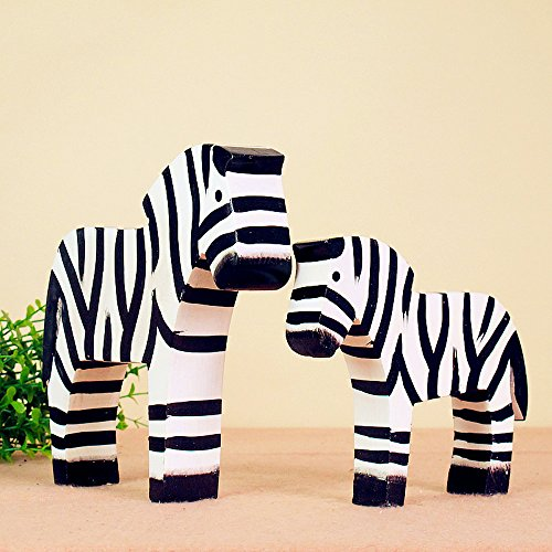 BWLZSP 1 pair Simple Classic Country Style Nordic Log Decorations Oban Set Two Raw Wood Zebras LU620118 by BWLZSP (Image #4)