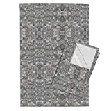 Roostery Pebbles Tea Towels Castle Gray (Light) Pebbles In Mirror Repeat by Anniedeb Set of 2 Linen Cotton Tea Towels
