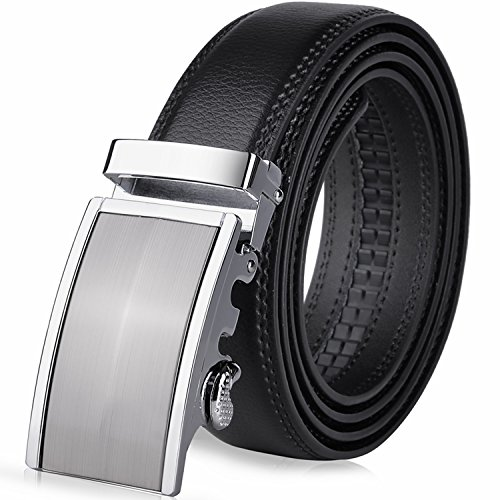 Vbiger Men's Leather Belt Sliding Buckle 35mm Ratchet Belt Black (42″ to 52″ long, Black 22)