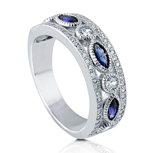 (BERRICLE Rhodium Plated Sterling Silver Simulated Blue Sapphire Cubic Zirconia CZ Statement Art Deco Wedding Half Eternity Band Ring Size 8)