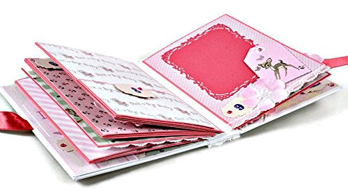 Kristabella Creations Baby Girl Scrapbook Album, Newborn Baby Girl Photo Album, Baby`s First Year Keepsake Album, size 8x6 inches by Kristabella Creations