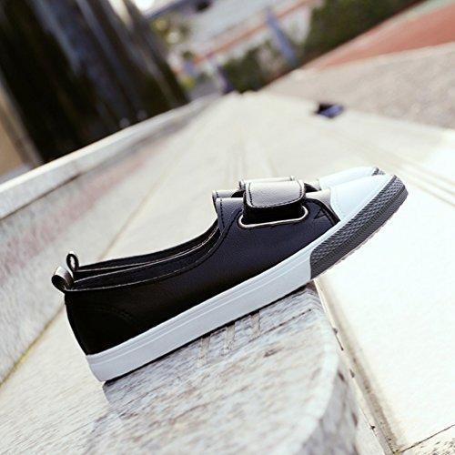 Été Printemps Ville Souple Basse Plate de Femme Noir Respirante Chaussure Chaussure au Enfiler en Toile Loisir avec Velcro 0PwXaxqZB