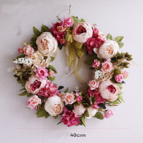 Yokoke Peony Wreath Rose Floral Twig Wreath 16 Inch Handmade Vintage Artificial Flowers Garland Front Door Wreath Beautiful Silk For Spring And Summer Wreath Display (pink)