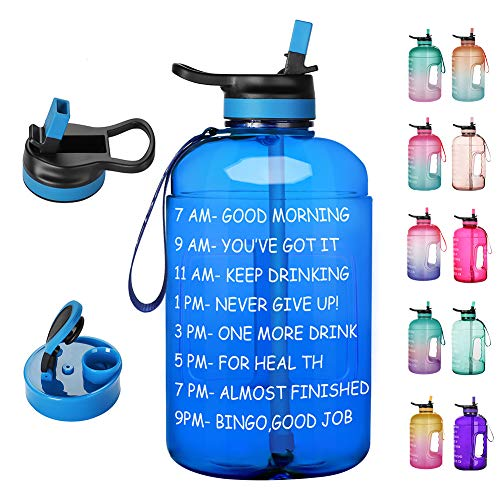 🥇 Opard 64 oz/Half Gallon Motivational Water Bottle with Time Marker & Straw Large Water Bottle with 2 Lids