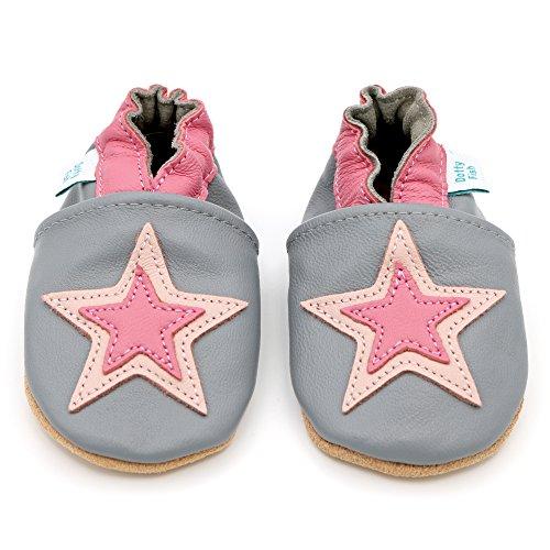 Dotty Fish - Zapatos de cuero suave para bebés - Niños y Niñas - Estrellado (4-5 Años, Gris y rosa de la estrella)