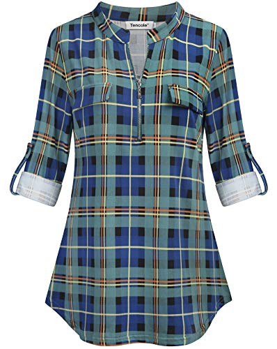 83509cb86fe Tencole Women Rolled Sleeve Plaid Tunic Shirt Casual V Neck Zipper Front  Blouse