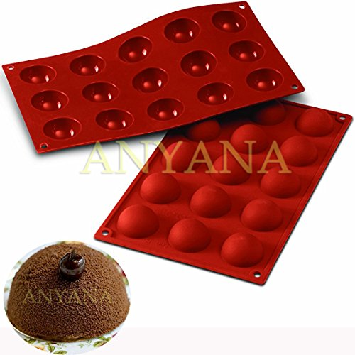 Anyana 2Pcs 15 Cavity Semi Sphere Half Round Dome Silicone Mold Chocolate Teacake Baking Tray Mould Soap Bombs Lotion Bars